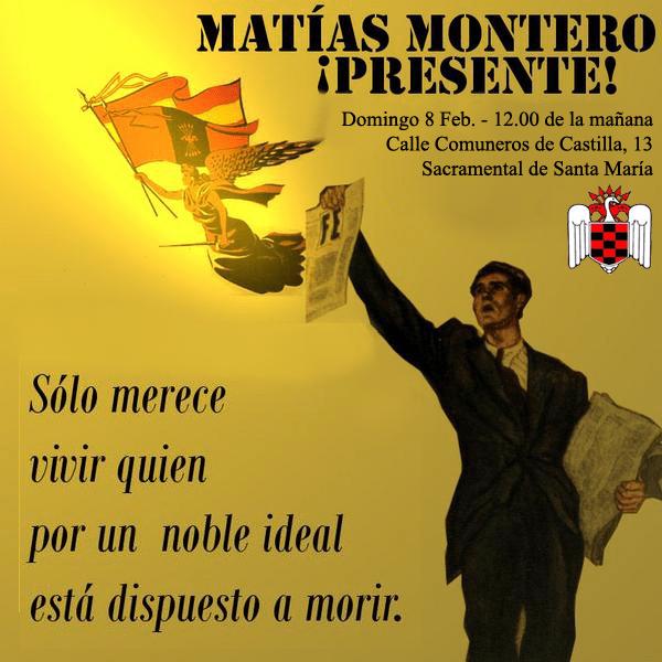Domingo 8 de Febrero en el Cementerio de San Isidro, homenaje a Matías Montero a las 12.00 h.