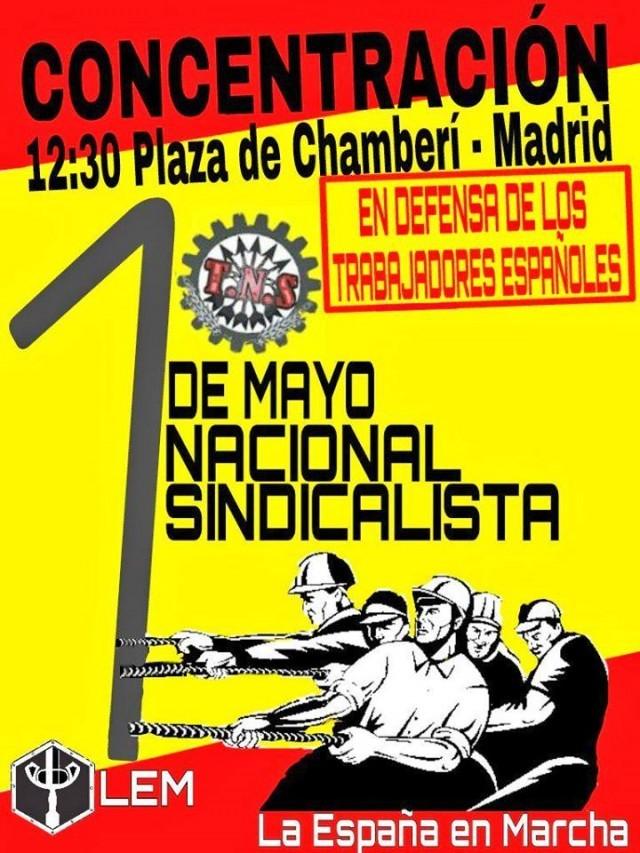 Acto 1 de Mayo, día del trabajador, en la madrileña Plaza de Chamberí
