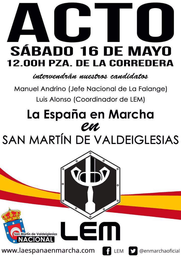 Próximo acto electoral de La España en Marcha en San Martín de Valdeiglesias