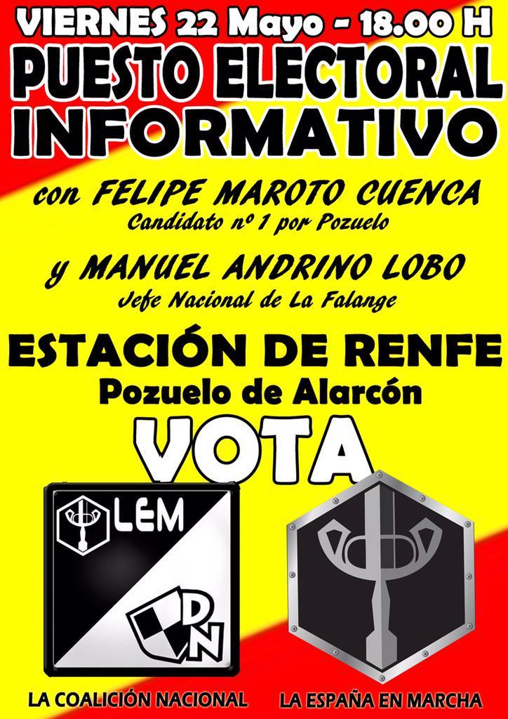 Próximo Puesto Electoral Informativo de La España en Marcha y de La Coalición Nacional en Pozuelo de Alarcón