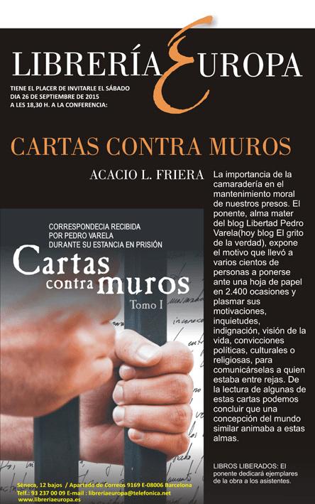 Conferencia en la Librería Europa el próximo 26 de septiembre: Cartas contra muros, a cargo de Acacio L. Friera