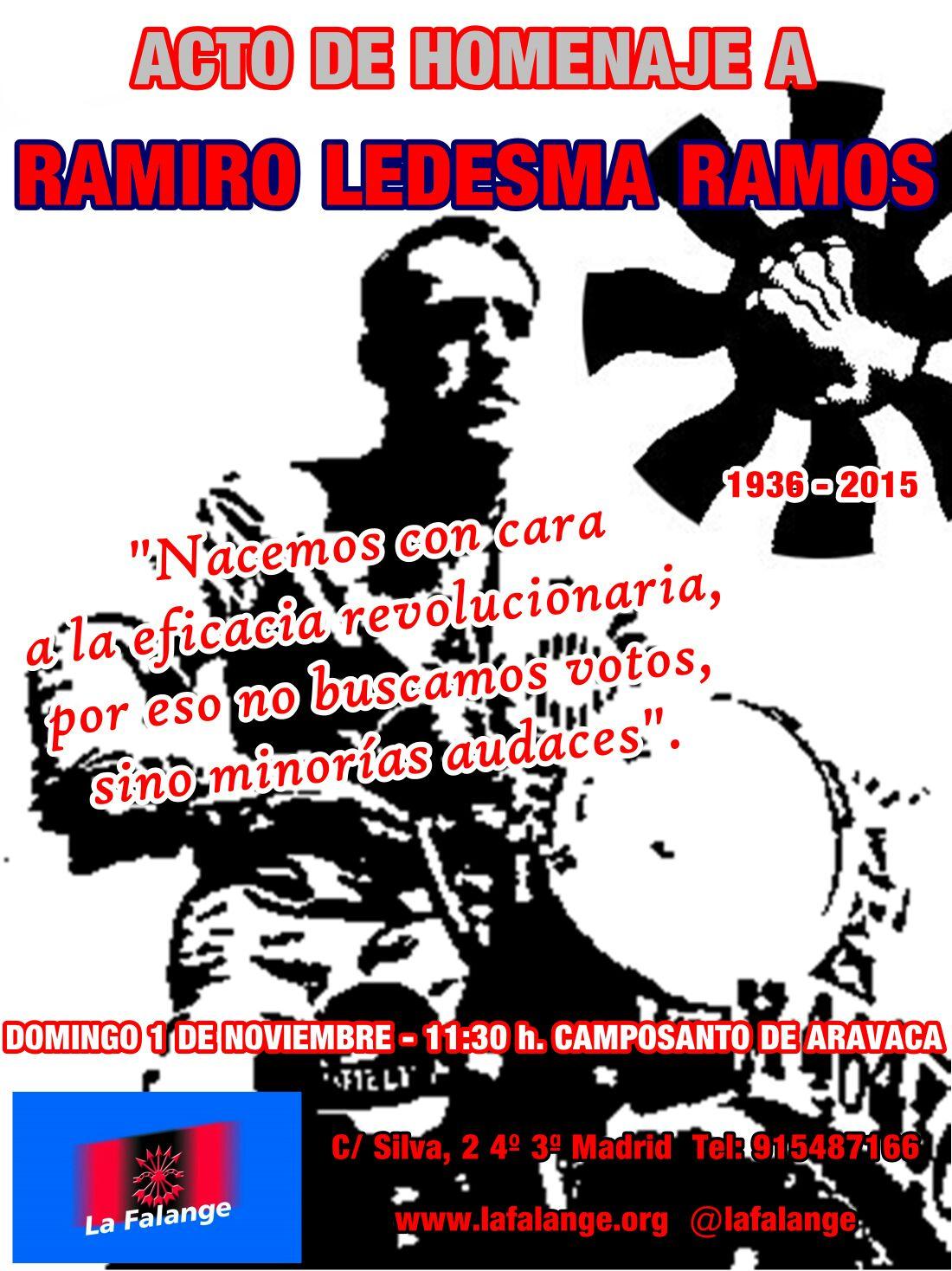 Acto homenaje a Ramiro Ledesma Ramos y a los Mártires de Aravaca el día 1 de Noviembre a las 11:30 h. en el Cementerio de Aravaca