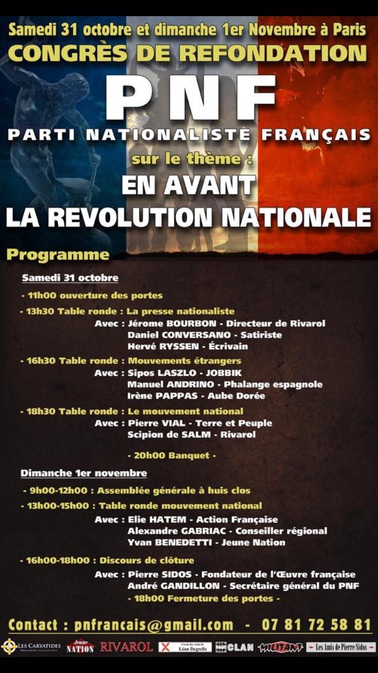 La Falange acudirá a la refundación del Partido Nacionalista Francés