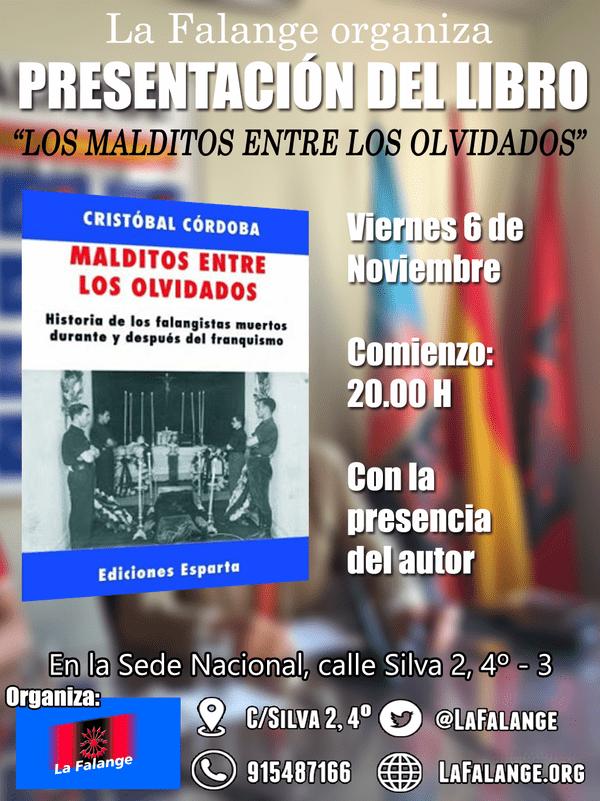 """""""Malditos entre los olvidados"""". Presentación del libro de Cristóbal Córdoba (6 de noviembre 20:00 h)"""
