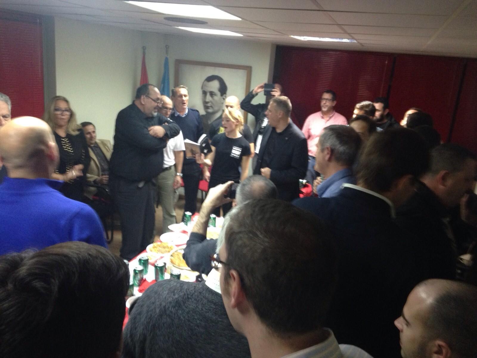 Vino español celebrado en la Sede Nacional de La Falange con los camaradas europeos