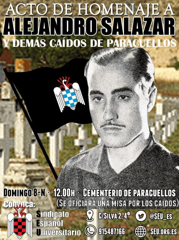 Acto Homenaje a Alejandro Salazar, fundador del SEU, y a todos los Caídos de Paracuellos