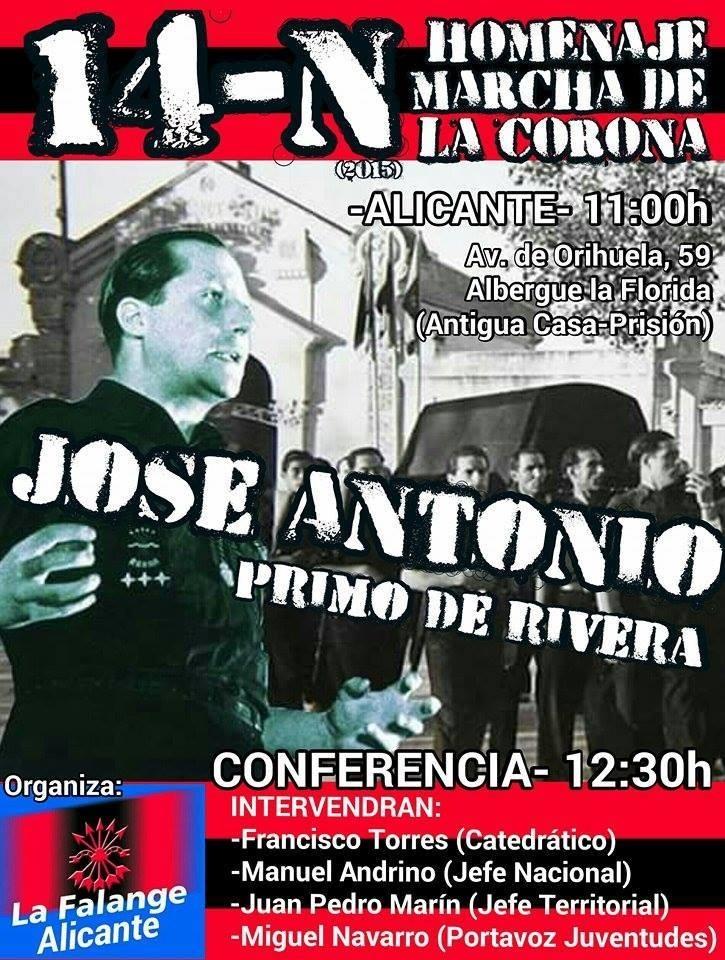 Sábado 14 de Noviembre, acto en Alicante con la presencia del Jefe Nacional de La Falange