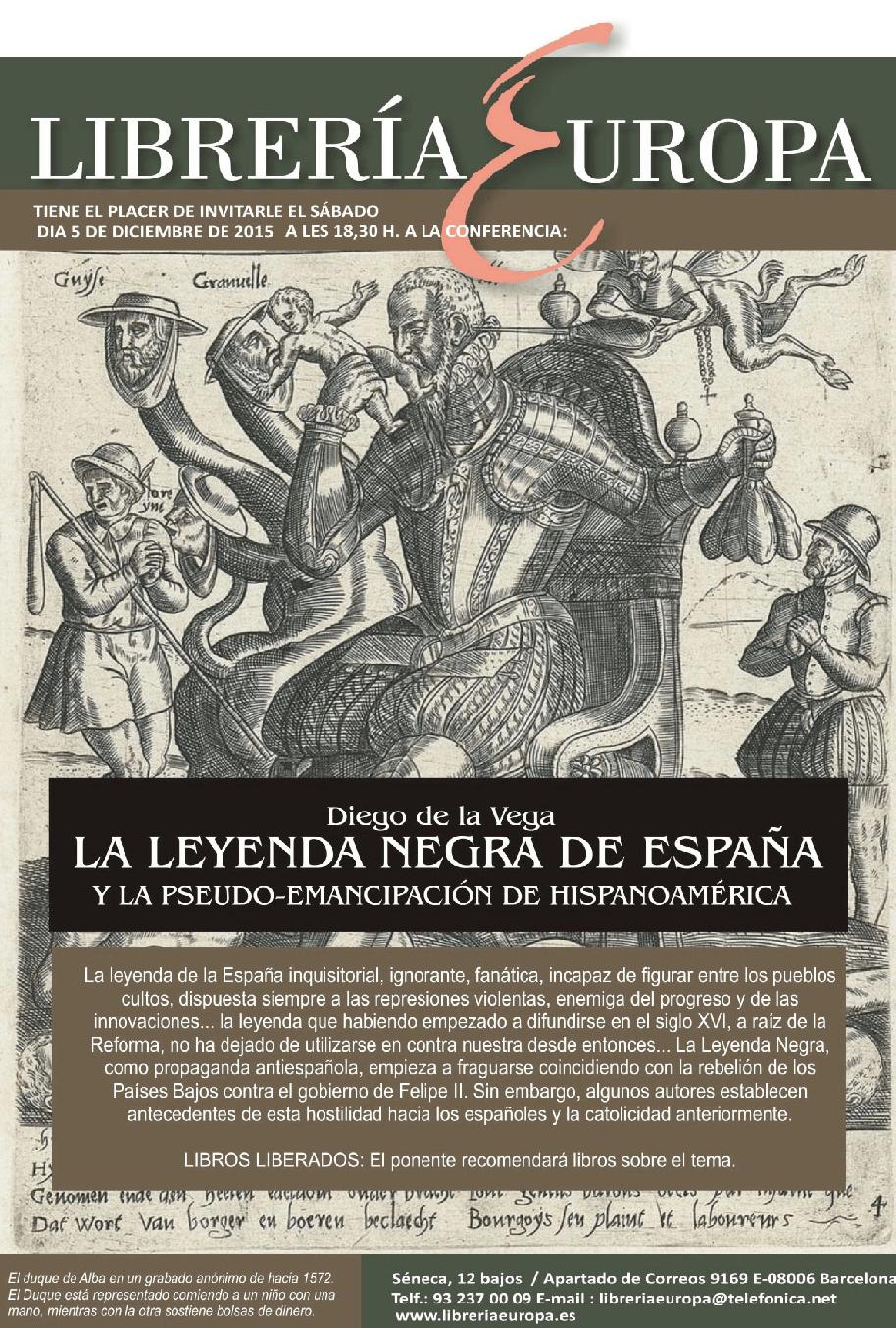 """""""La Leyenda Negra de España"""". Conferencia en la Librería Europa a cargo de Diego de la Vega"""