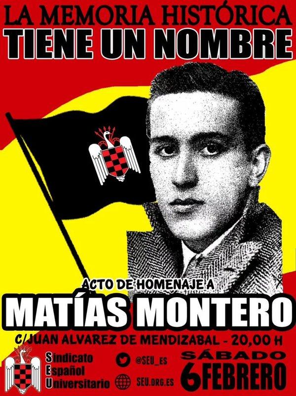 Acto de Homenaje a Matías Montero, fundador del SEU y primer caído de la Falange