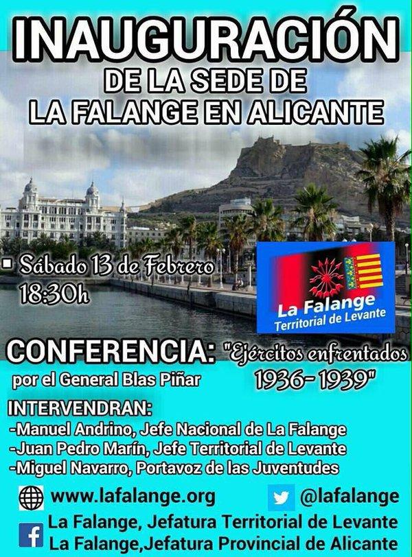 Próxima inauguración de la sede de La Falange en Alicante