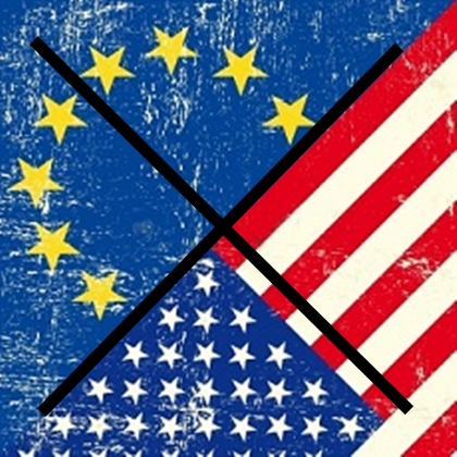 La bandera de Estados Unidos flota sobre Europa