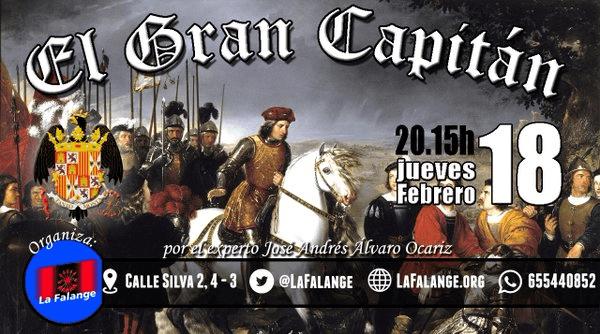 """Conferencia sobre """"El Gran Capitán"""" en la Sede Nacional de La Falange, por José Andrés Álvaro Ocáriz"""
