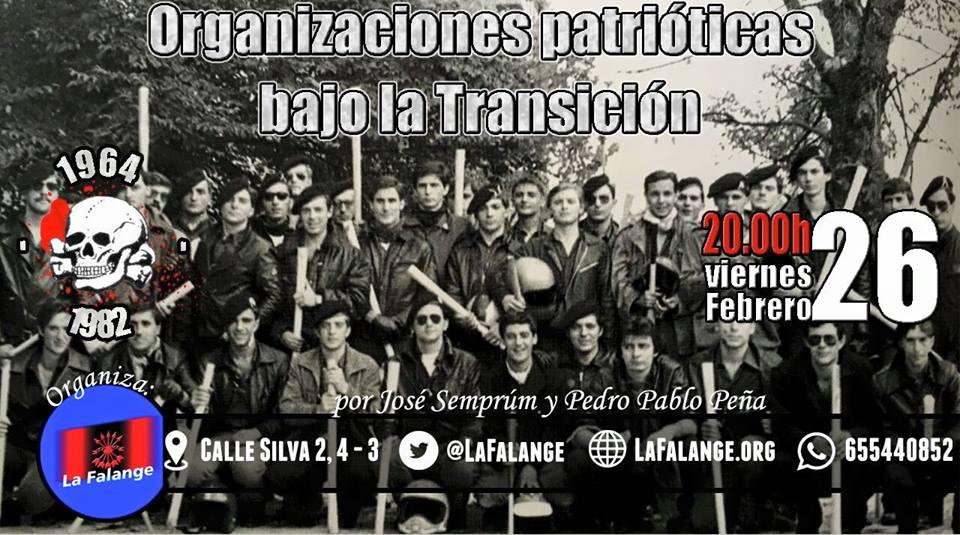 """Próxima conferencia en la Sede Nacional de La Falange: """"Organizaciones patrióticas bajo la Transición"""", por José Semprúm y Pedro Pablo Peña"""