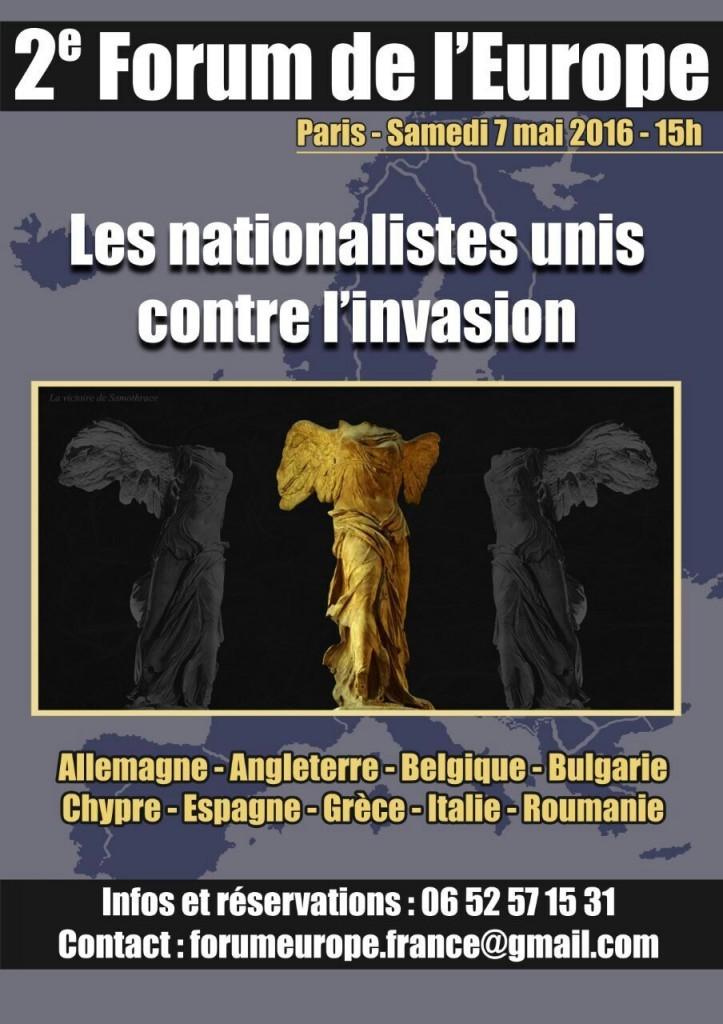 El Sábado 7 de Mayo, La Falange acudirá a París al Fórum de Europa contra la Invasión