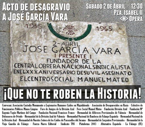 Próximo Acto de Homenaje y desagravio al falangista José García Vara en Madrid