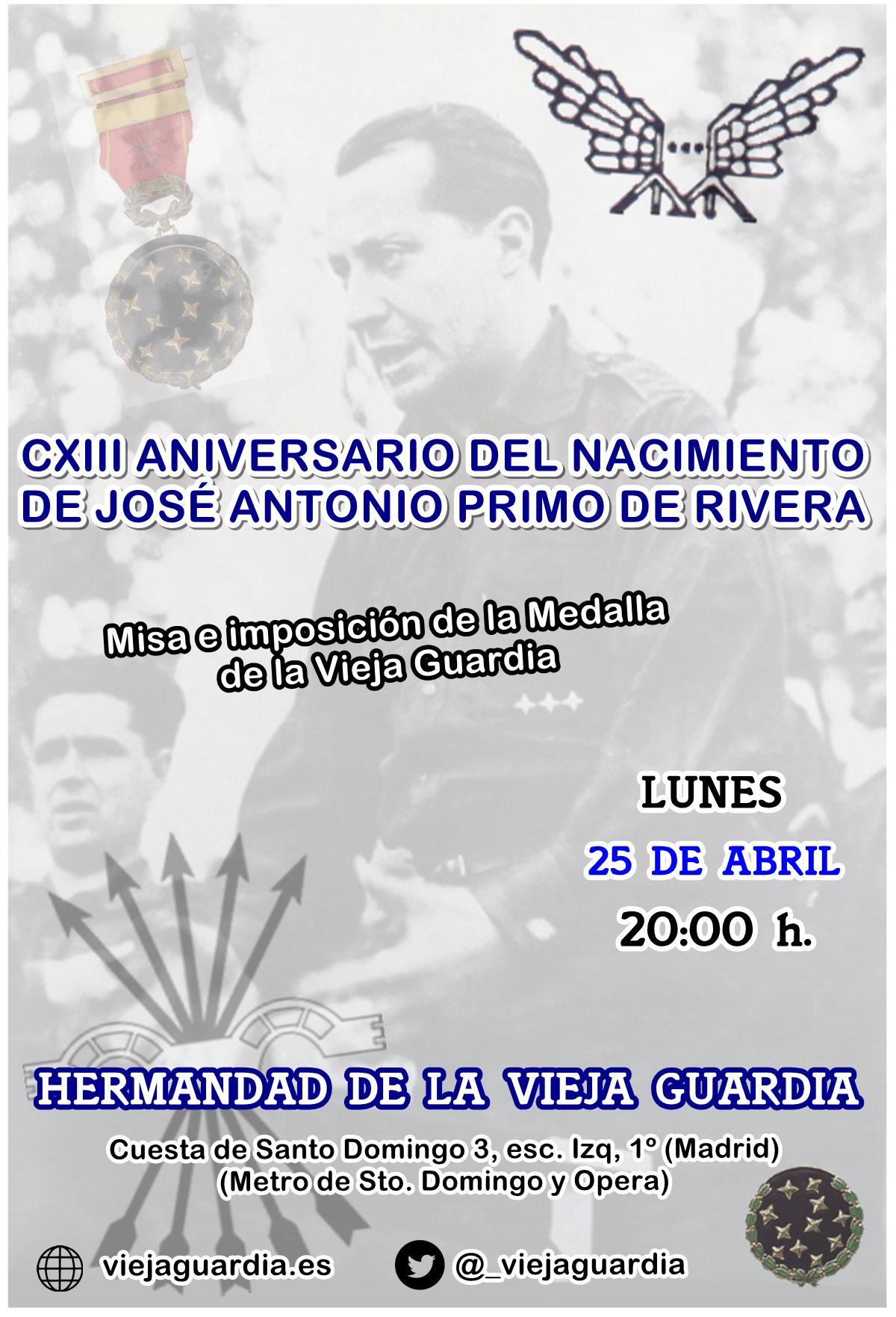 CXIII Aniversario del nacimiento de José Antonio Primo de Rivera