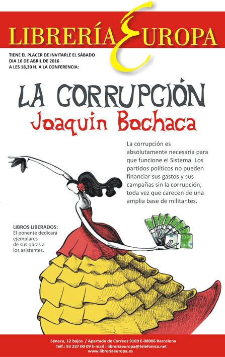 """Próxima conferencia en la Librería Europa: """"La corrupción"""", por Joaquín Bochaca"""