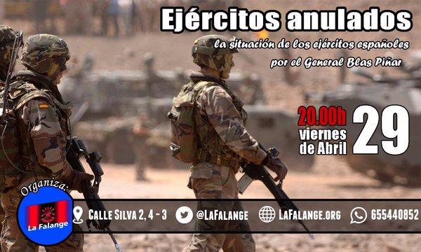 """""""Ejércitos anulados"""", próxima conferencia en la Sede Nacional de La Falange, por el General Blas Piñar"""