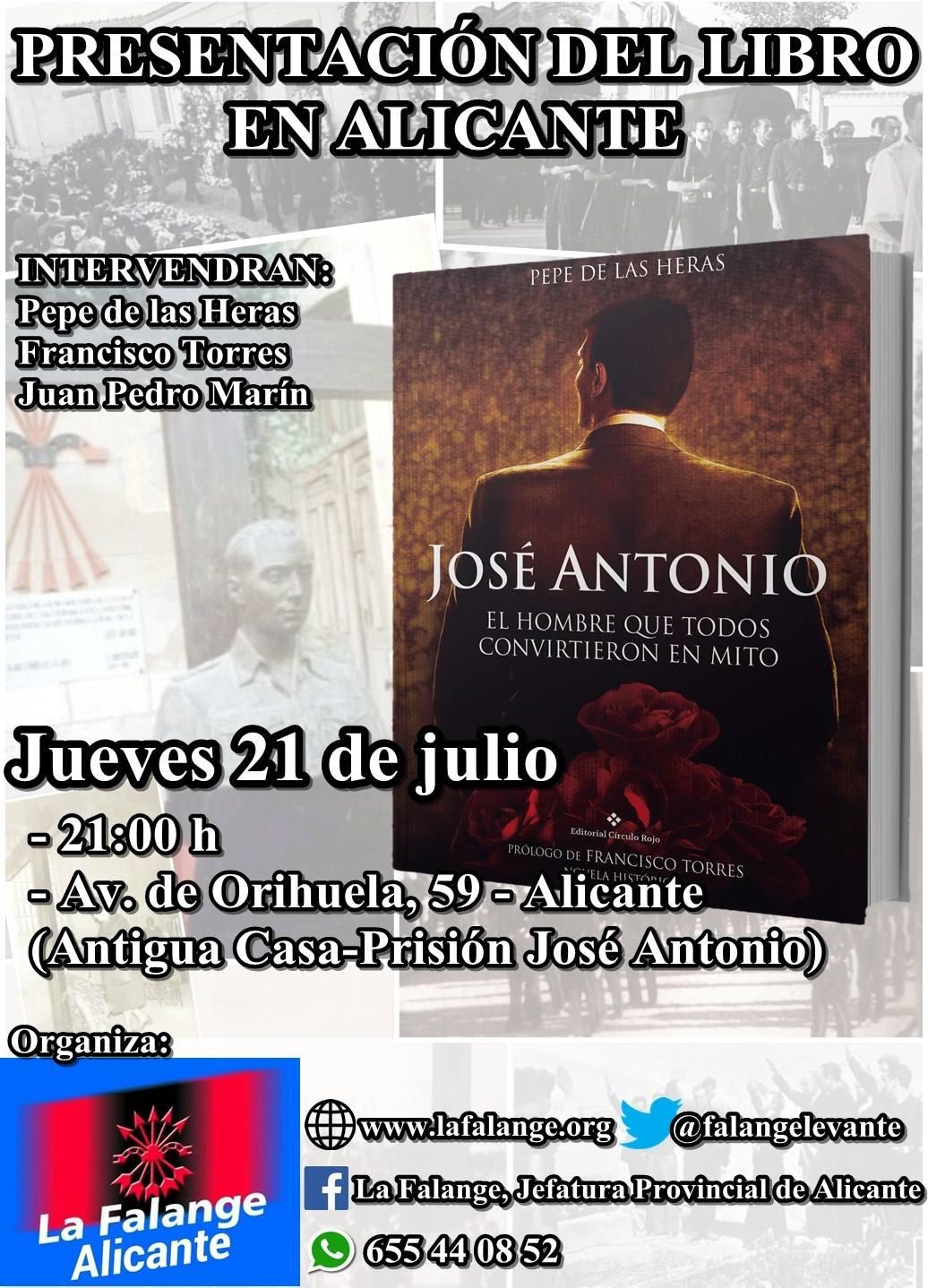 """Presentación en Alicante del libro """"José Antonio. El hombre que todos convirtieron en mito"""""""