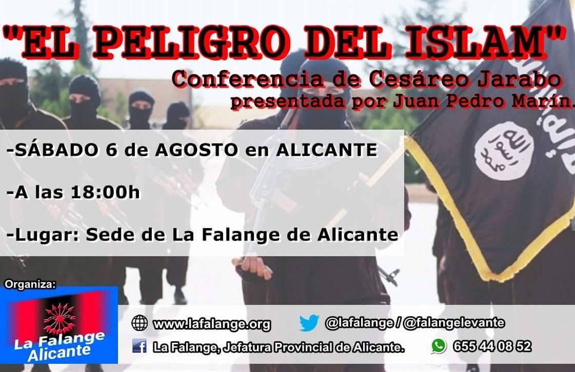 """Conferencia """"El peligro del Islam"""" en la sede de La Falange en Alicante, por Cesáreo Jarabo"""