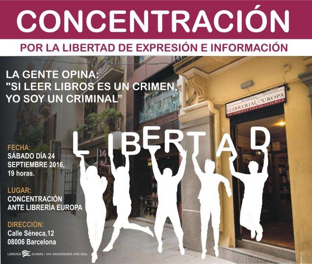 Concentración de apoyo a la Librería Europa en Barcelona