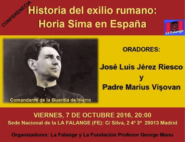 """Próxima conferencia """"Historia del exilio rumano: Horia Sima en España"""", por José Luis Jerez Riesco y el Padre Marius Visovan"""