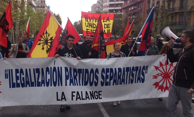 La Falange reivindica el 12 de Octubre en Barcelona que Cataluña es España