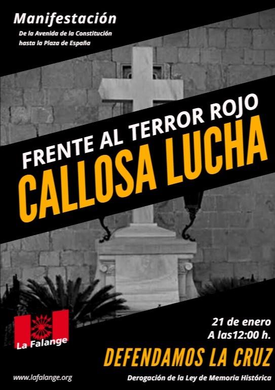 """La Falange pedirá en Callosa la derogación de la Ley de Memoria Histórica y recordará a las víctimas del """"terror rojo""""."""