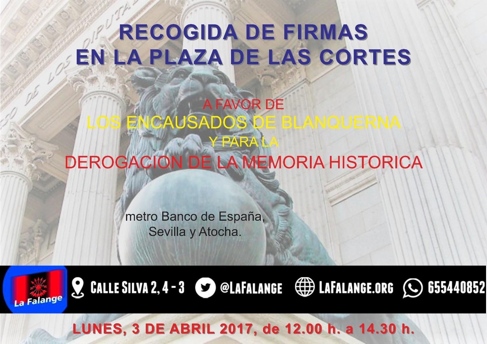 Mesa informativa Lunes 3 de Abril de 12:00 a 14:00 h. en la Plaza de Las Cortes