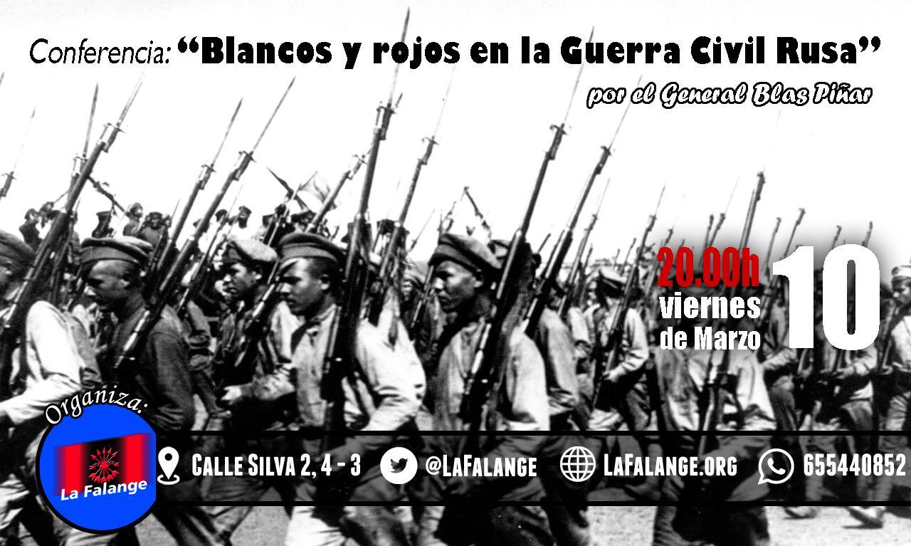 """Conferencia del General Blas Piñar en la sede nacional de La Falange: """"Blancos y Rojos en la Guerra Civil Rusa"""""""