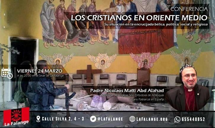 """Conferencia en la Sede Nacional de La Falange """"Los Cristianos en Oriente Medio"""" por el Padre N. Matti. Viernes 24 a las 20:00 h."""