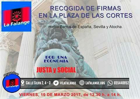 Recogida de firmas en la Plaza de las Cortes