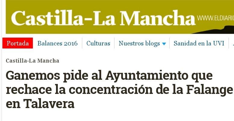 Intento de boicot de Ganemos Talavera al acto falangista del 1 de Abril.