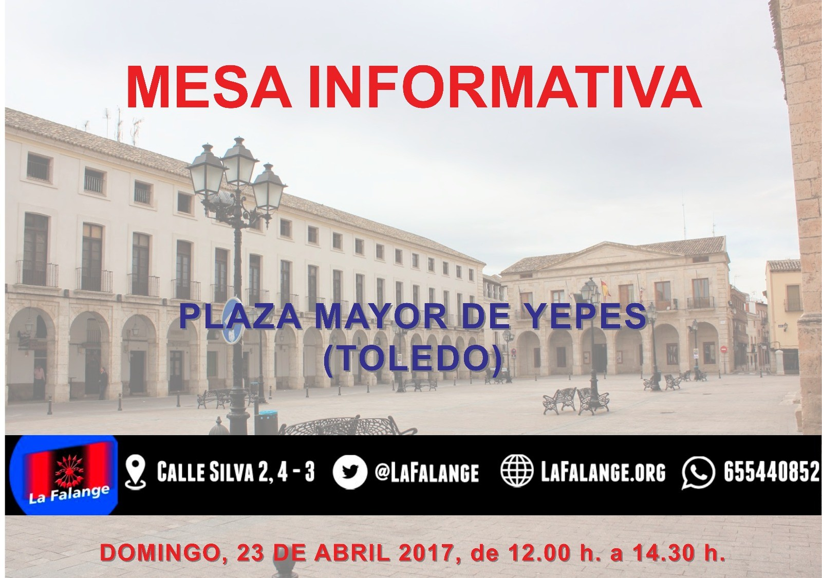 Mesa informativa en Toledo Domingo 23 Abril Plaza Mayor de Yepes de 12:00 a 14:30 h.