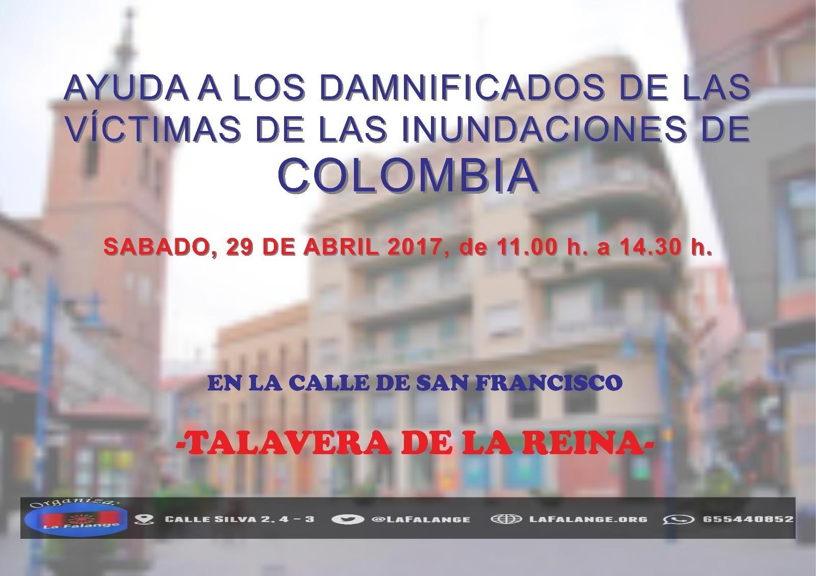 Mesa informativa de ayuda a las víctimas de las inundaciones en Colombia