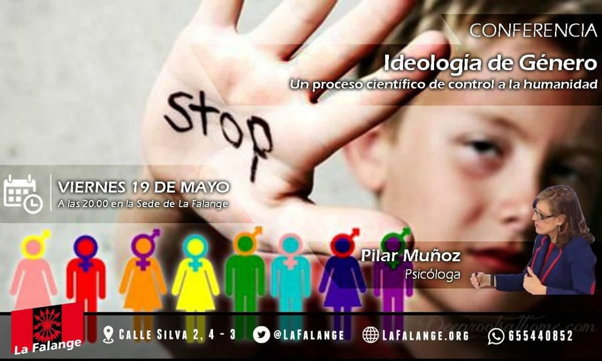 """Conferencia en la sede nacional de La Falange a cargo de Pilar Muñoz: """"Ideología de Género"""" Viernes 19 de Mayo a las 20:00 h."""