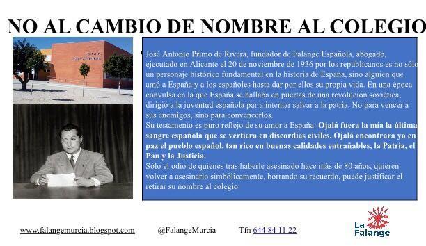 La Falange, junto con los vecinos, en defensa del Colegio José Antonio de Fuente Álamo