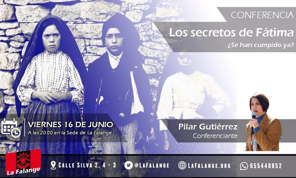 """Conferencia de Pilar Gutiérrez """"Los Secretos de Fátima"""" en la sede nacional de La Falange a las 20:00 h."""