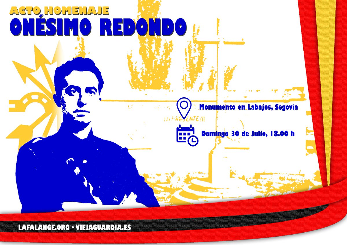 Acto homenaje a Onésimo Redondo en el Monumento de Labajos, Segovia. 30 de Julio a las 18:00 h.