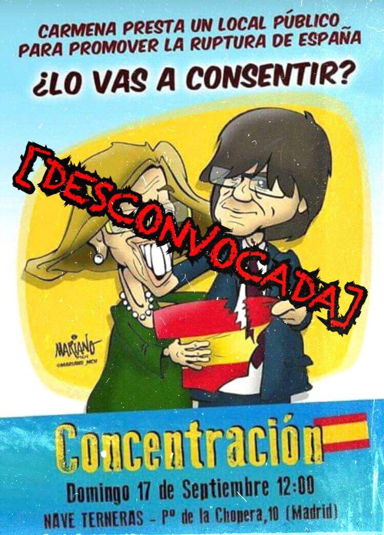 DESCONVOCADO el acto de protesta contra el separatismo en Madrid