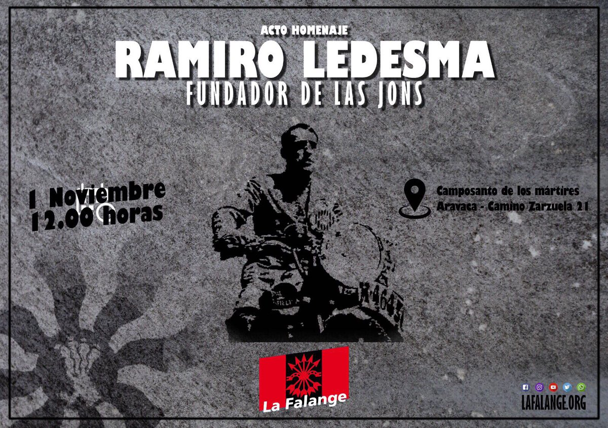 1 de Noviembre: Homenaje a Ramiro Ledesma en Aravaca