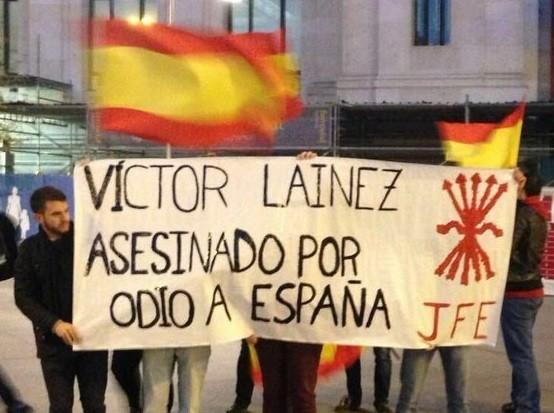 Juventudes de La Falange contra los que apoyan a los asesinos de Víctor Laínez