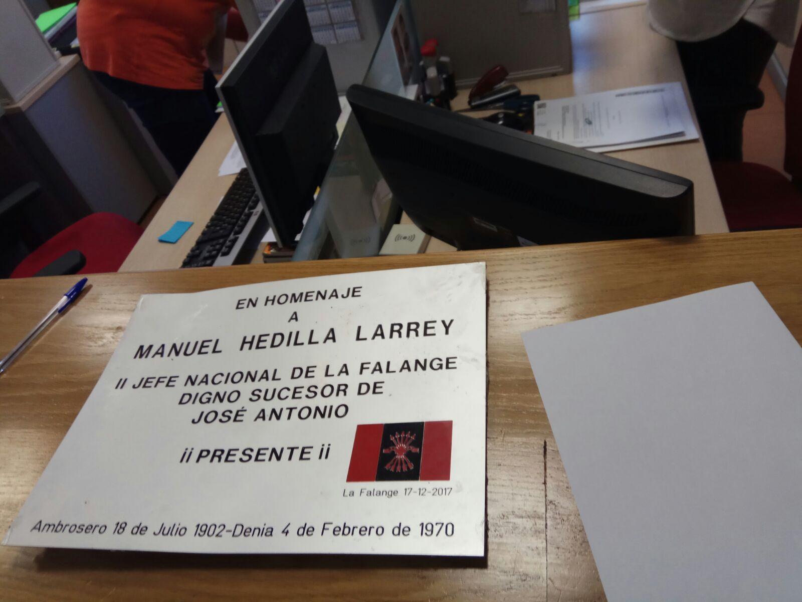 Recuperada la placa de homenaje a Manuel Hedilla