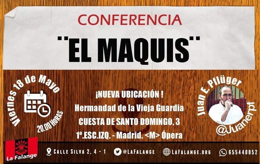 Viernes 18: Conferencia sobre el Maquis por Juan E. Pflüger