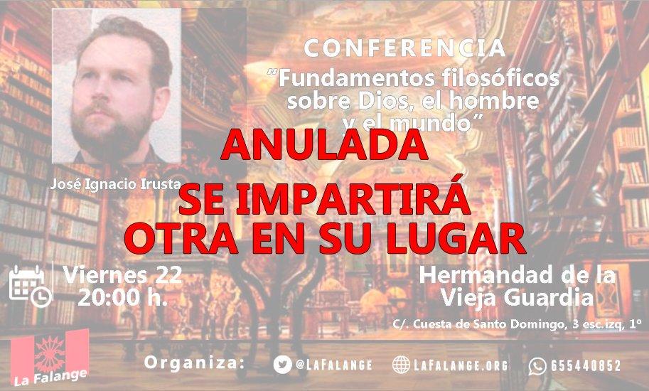 Cambio de última hora en la conferencia de este viernes #IrustaLibertad