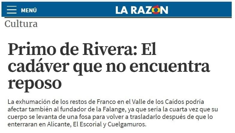 """Primo de Rivera: El cadáver que no encuentra reposo"" por Jorge Vilches"