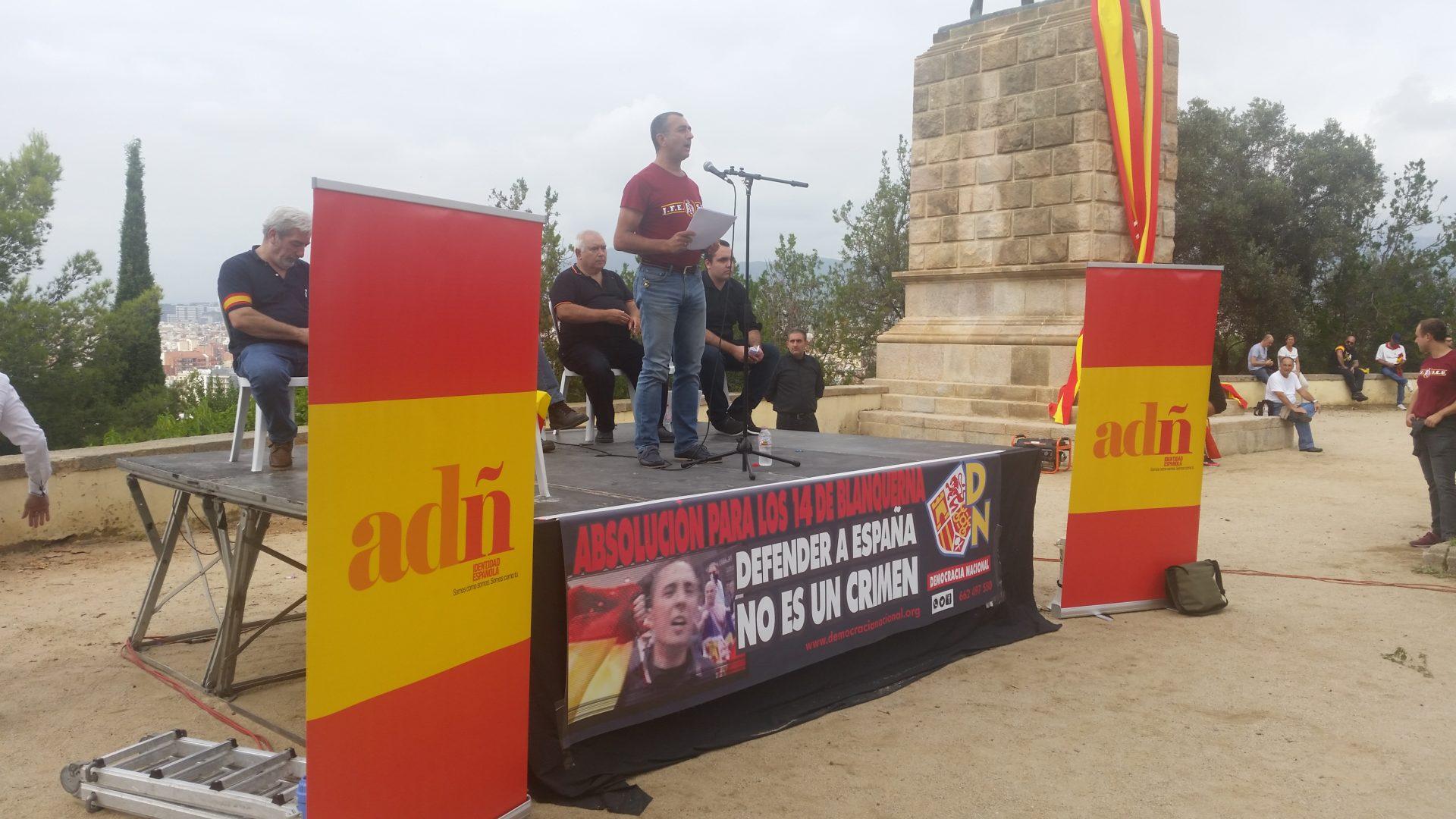 Discurso del Jefe Nacional de La Falange Manuel Andrino el 12 de Octubre en Montjuic