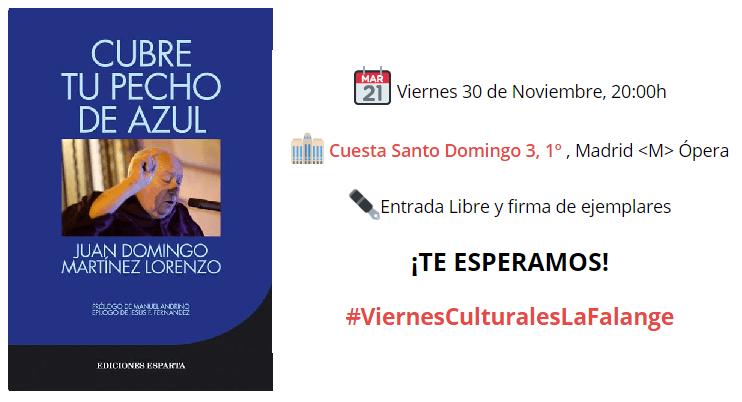 30-Nov: Nuevo viernes cultural con Juan Domingo Martínez
