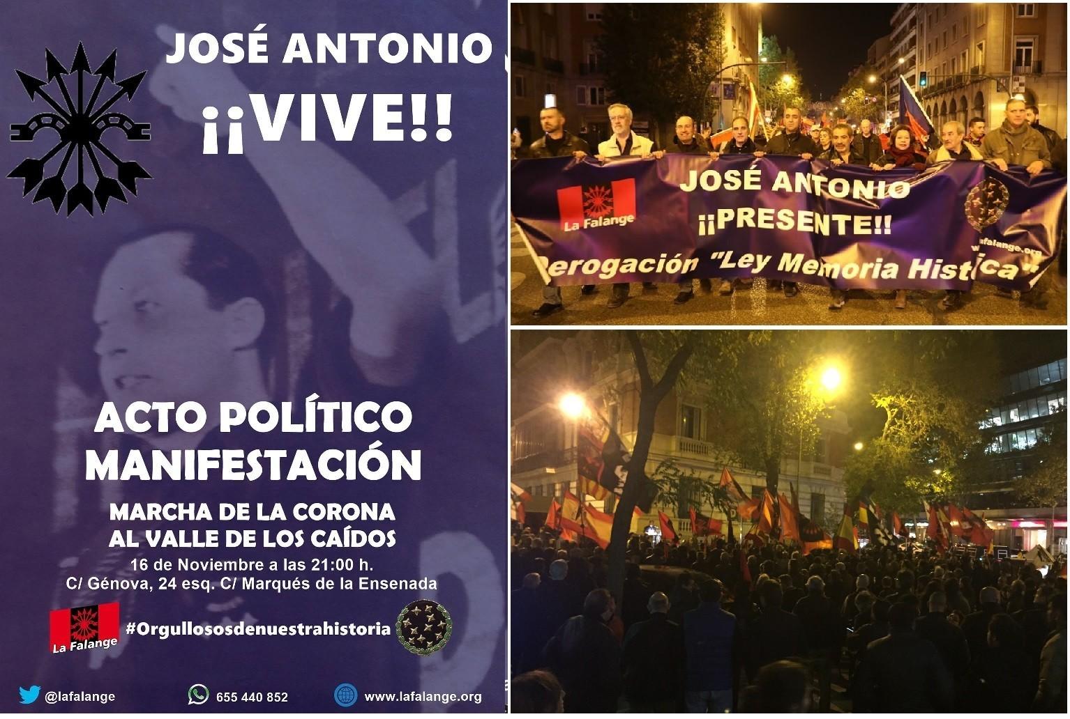 16-Nov: Acto político y manifestación en Madrid: JOSÉ ANTONIO ¡VIVE!