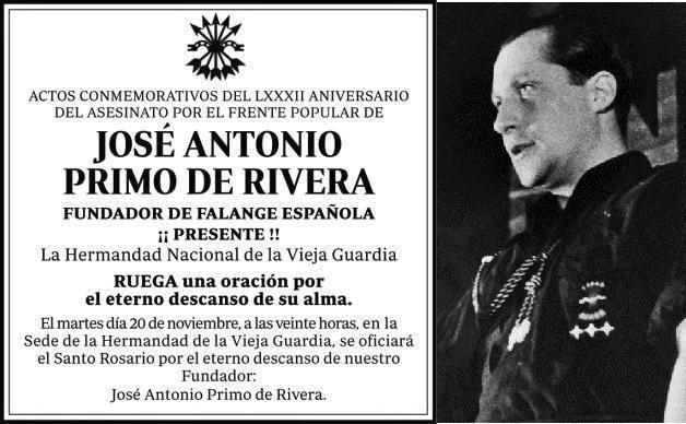 20N: Santo Rosario por el descanso de José Antonio en Vieja Guardia